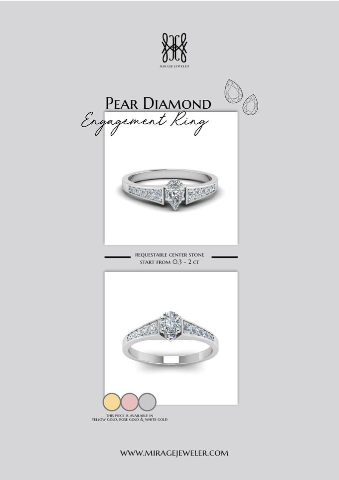 PEAR Center Engagement Ring by Mirage Jeweler - 016