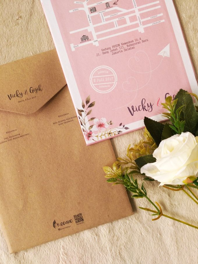 Vicky & Gigih - Invitation Hard Cover Mix Textured Paper and Craft with envelope by Keeano Project - 001