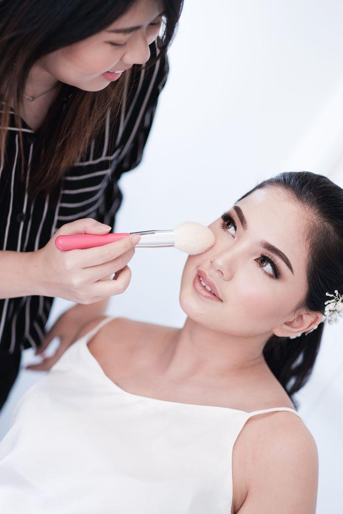 Soft Glam Wedding Makeup + Simple Hairdo For Indah by Devina Martina Sulam Alis - 006