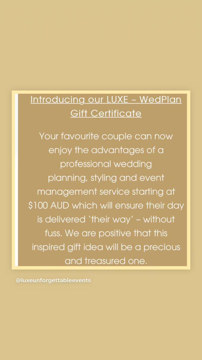 LUXE - WedPlan Gift Certificate  by LUXE - Unforgettable Events - 001