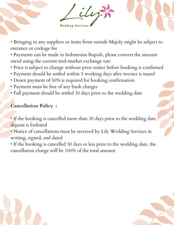 Our Wedding Packages by Lily Wedding Services - 011