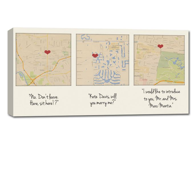 Custom Map Wall Art YOUR 3 Special Locations Canvas Holiday Gift for Spouse by Geezees Custom Canvas - 001