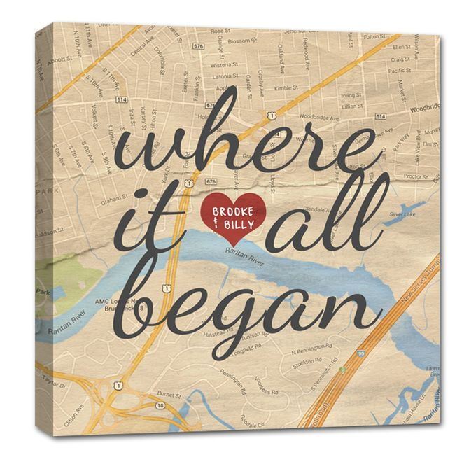 Vintage Map Customized with Places City Art Geographical Location 24X24 Canvas by Geezees Custom Canvas - 004