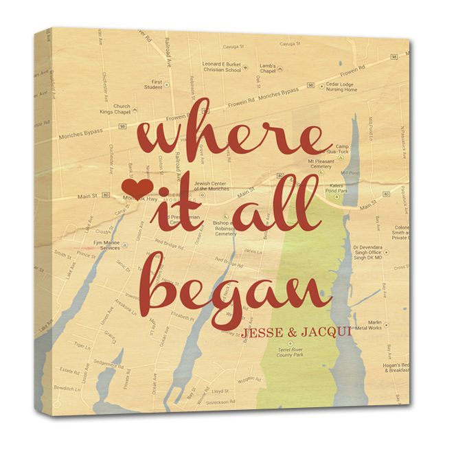 Vintage Map Customized with Places City Art Geographical Location 24X24 Canvas by Geezees Custom Canvas - 005