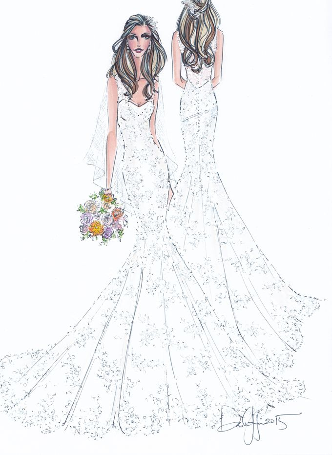 Custom frontal with back view bridal illustration by Illustrative Moments - 016