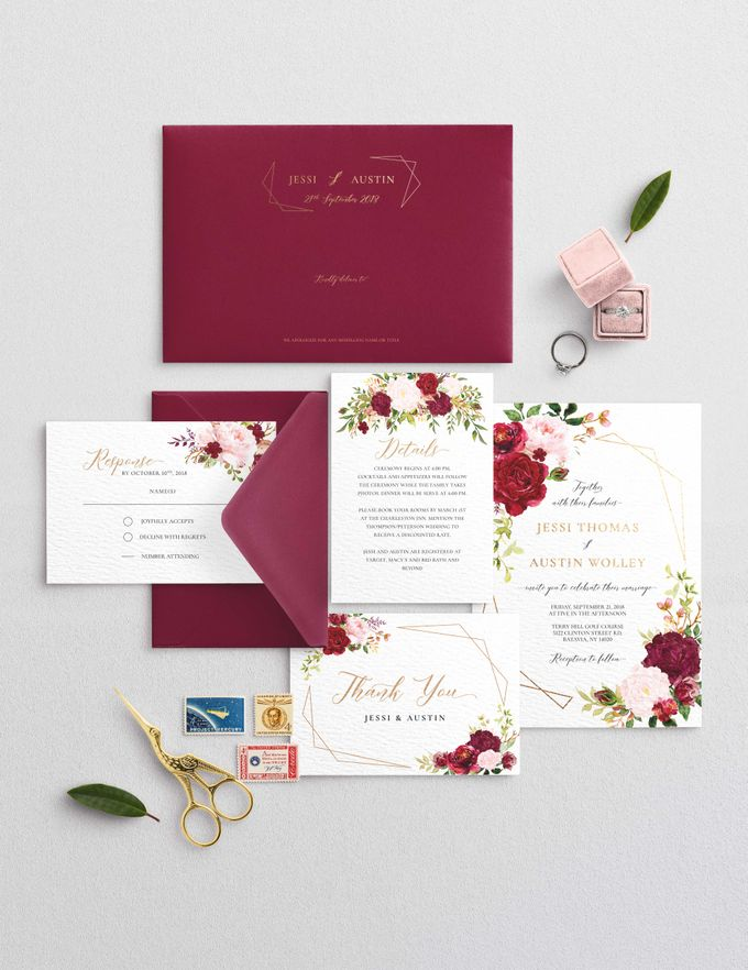 Marsala Blush by Trouvaille Invitation - 001