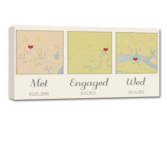 Custom Map Wall Art YOUR 3 Special Locations Canvas Holiday Gift for Spouse by Geezees Custom Canvas - 003