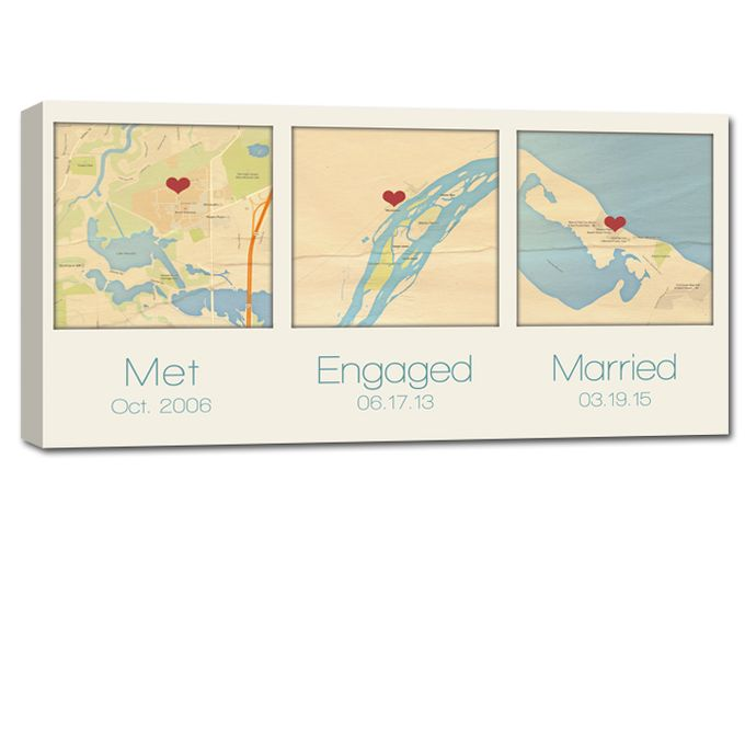 Custom Map Wall Art YOUR 3 Special Locations Canvas Holiday Gift for Spouse by Geezees Custom Canvas - 002
