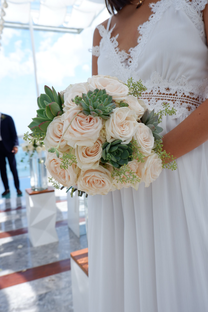 Rose and Succulent Bridal Bouquet by Mfreshflowers - 002