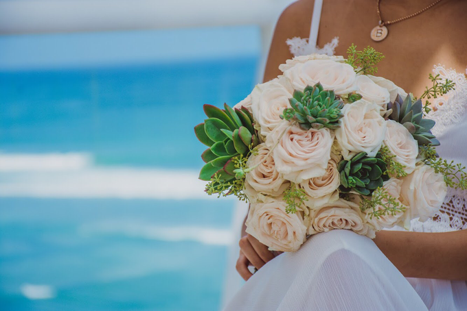 Rose and Succulent Bridal Bouquet by Mfreshflowers - 001