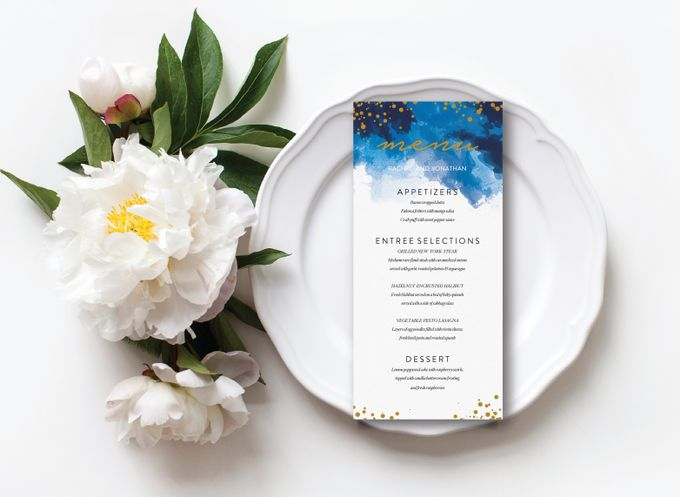 Blue Sparkles Watercolor by Trouvaille Invitation - 003