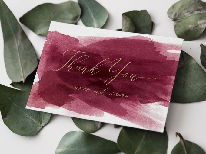 Red Burgundy Watercolor with Champagne Gold by Trouvaille Invitation - 005