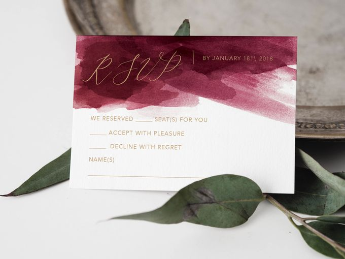 Red Burgundy Watercolor with Champagne Gold by Trouvaille Invitation - 003