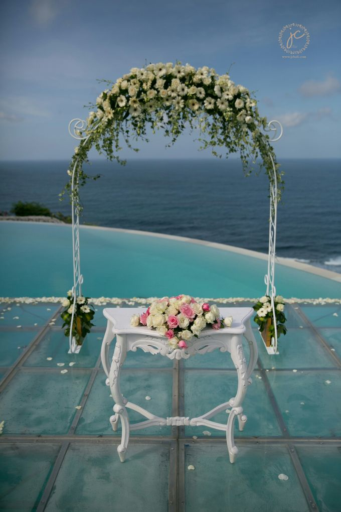 our chapel and water wedding decor by Jc Florist Bali - 025