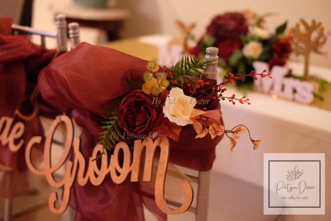 Red theme solemnisation table and chairs styling by Patson Decor - 004