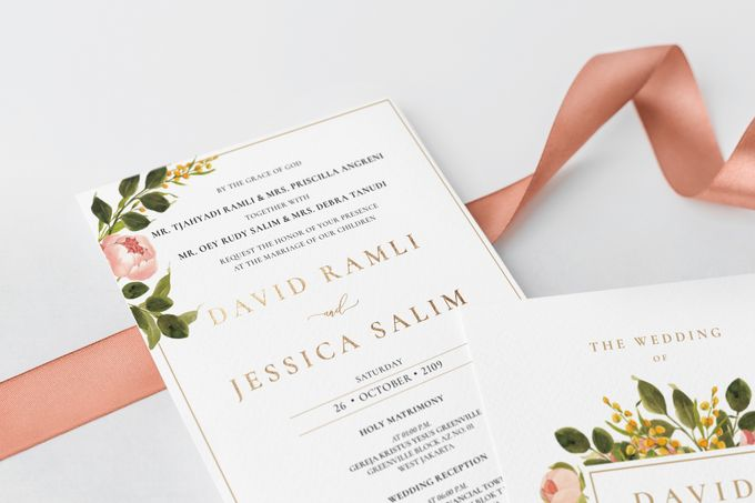 Peach Peony by Trouvaille Invitation - 003