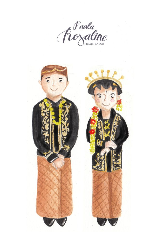 Javanese wedding illustration by Paula Rosaline Illustration - 001