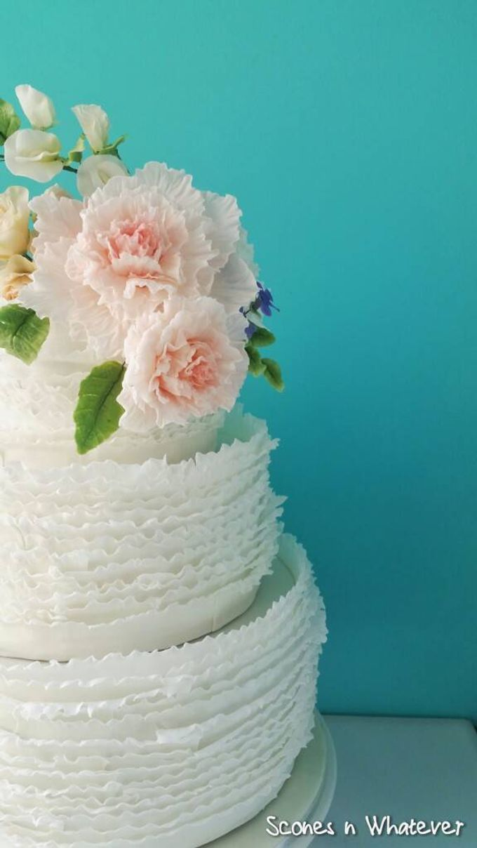Intriccate frill decorated with handcrafted sugar flowers by Scones n Whatever by Kim Teo - 002