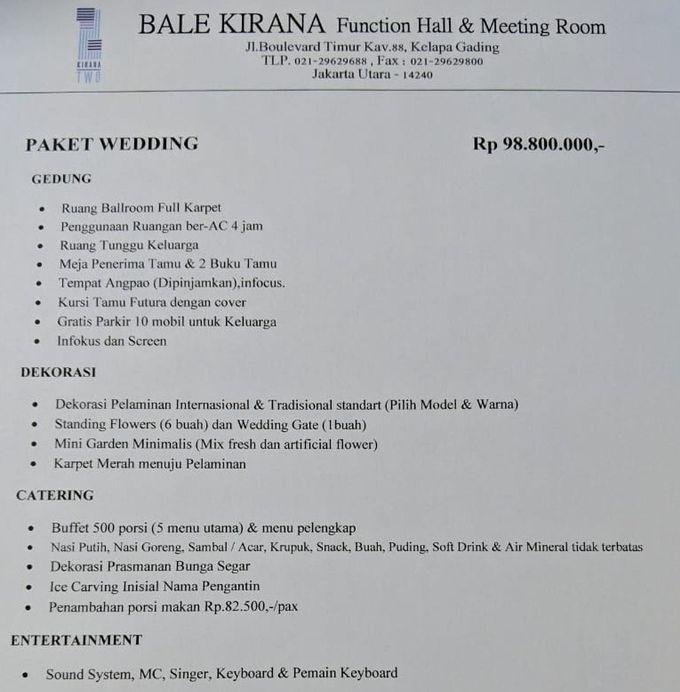 Paket Promo Wedding by Kirana Two Function Hall - 001