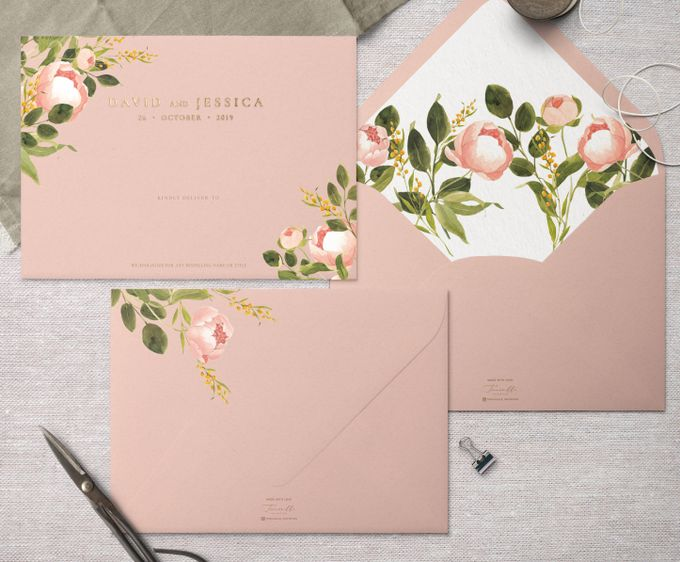 Peach Peony by Trouvaille Invitation - 002