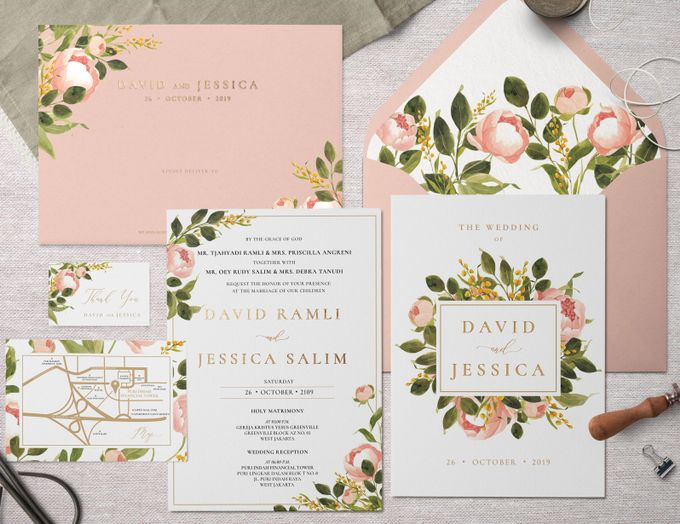 Peach Peony by Trouvaille Invitation - 001
