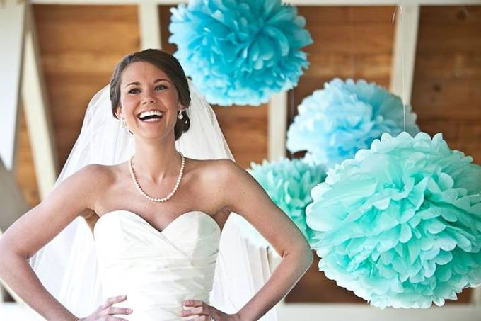 Wedding decoration with pompoms by Wiggle Giggle Party Supplier ...