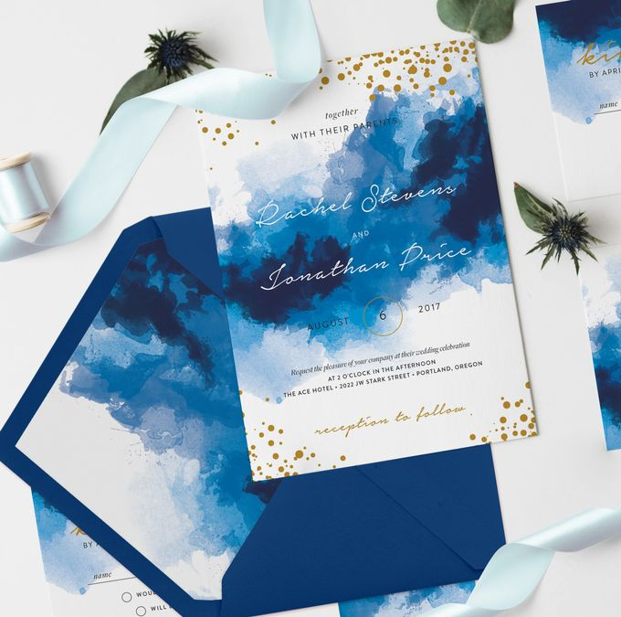 Blue Sparkles Watercolor by Trouvaille Invitation - 005
