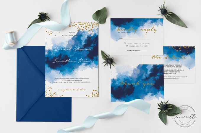 Blue Sparkles Watercolor by Trouvaille Invitation - 004