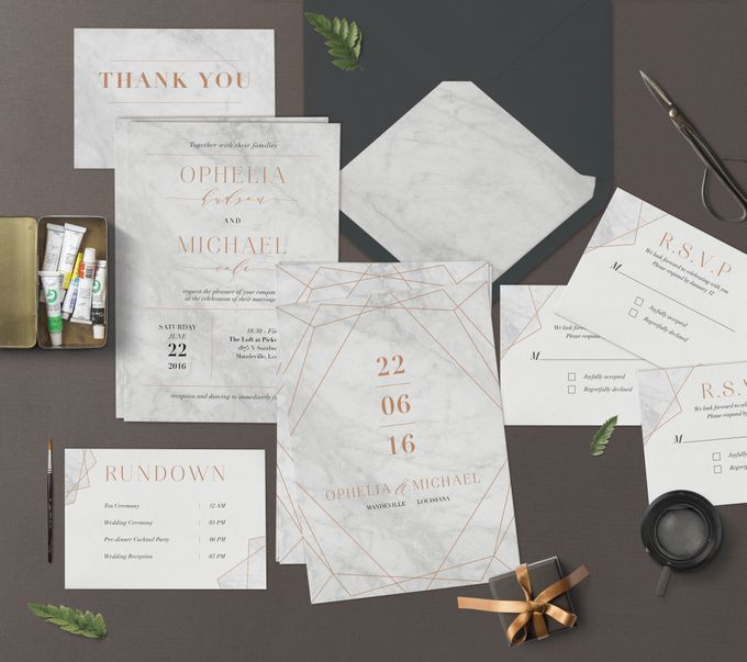 Geometric Gold Marble by Trouvaille Invitation - 001