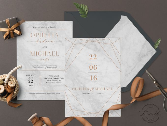 Geometric Gold Marble by Trouvaille Invitation - 003