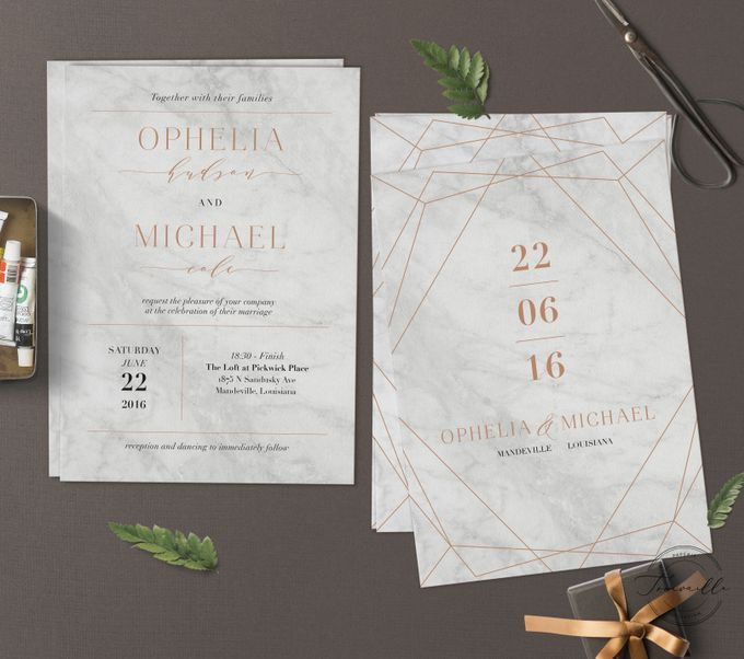 Geometric Gold Marble by Trouvaille Invitation - 002