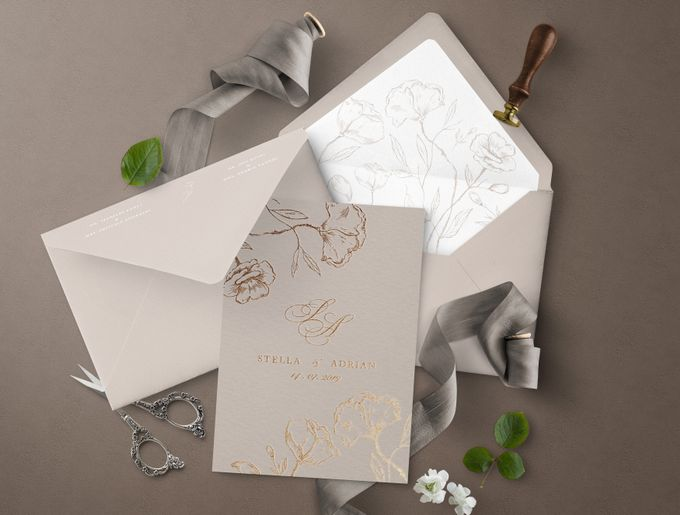 Romantic Beige by Trouvaille Invitation - 002