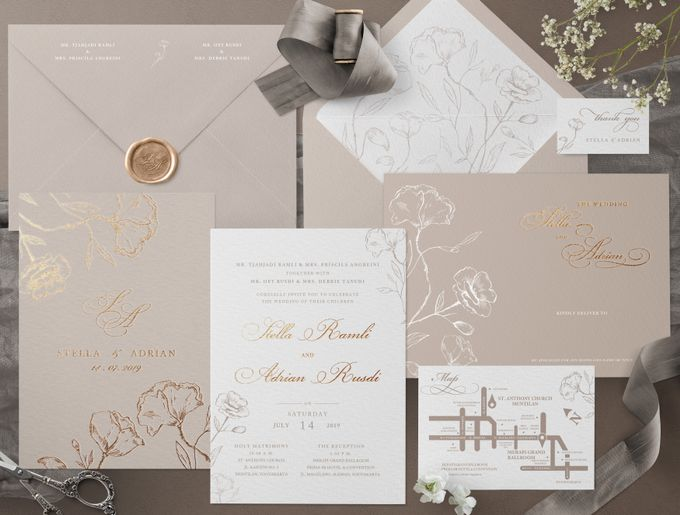 Romantic Beige by Trouvaille Invitation - 001