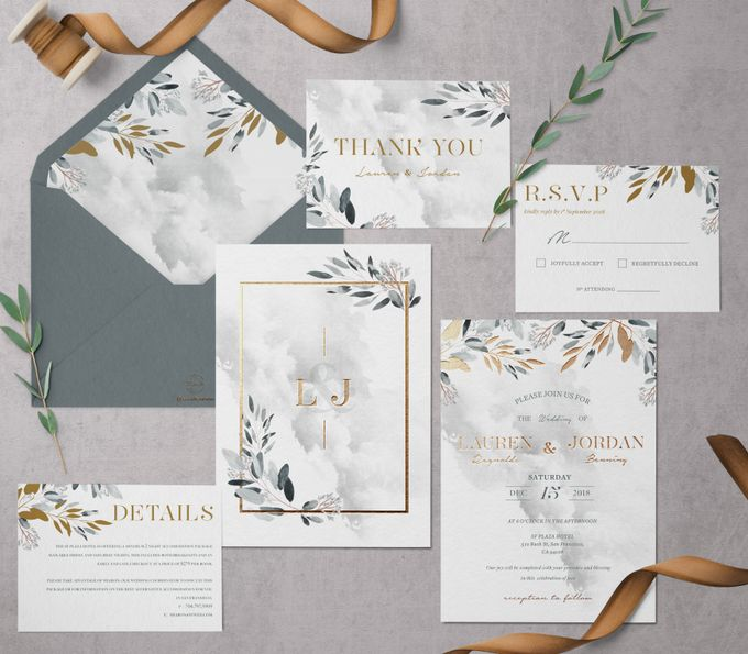 Silver Botanical by Trouvaille Invitation - 001
