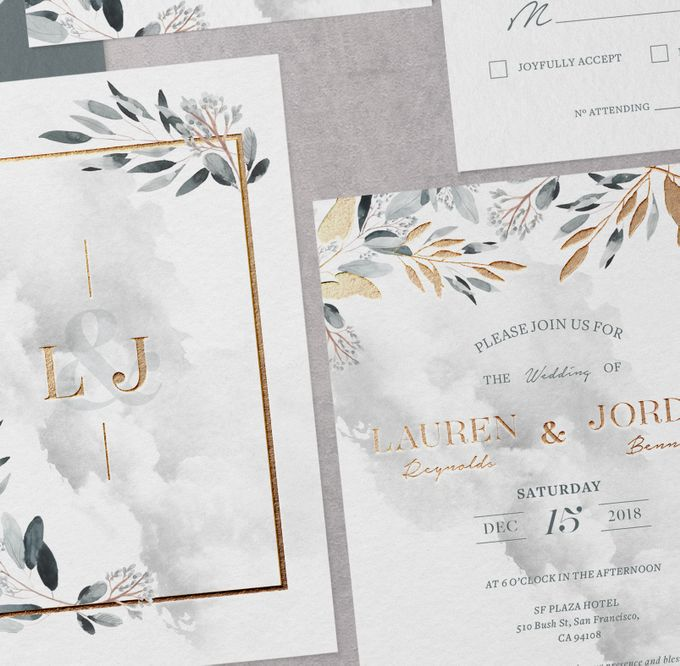 Silver Botanical by Trouvaille Invitation - 002