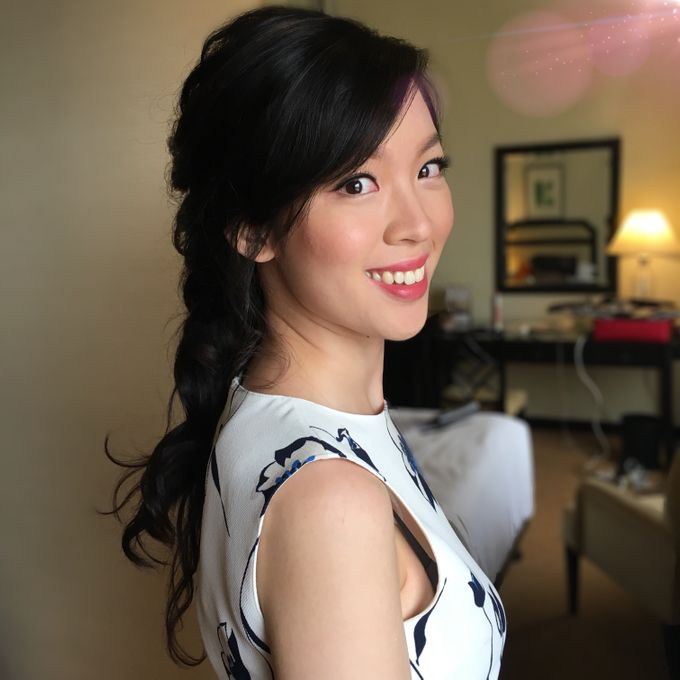 Romantic Floral Rustic Half up Half Down Hairstyles by Sylvia Koh Makeup and Hairstyling - 012