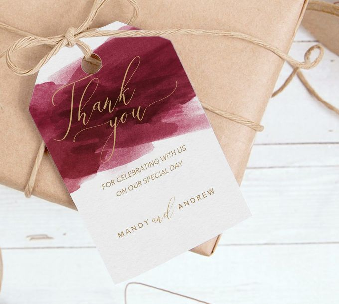 Red Burgundy Watercolor with Champagne Gold by Trouvaille Invitation - 004
