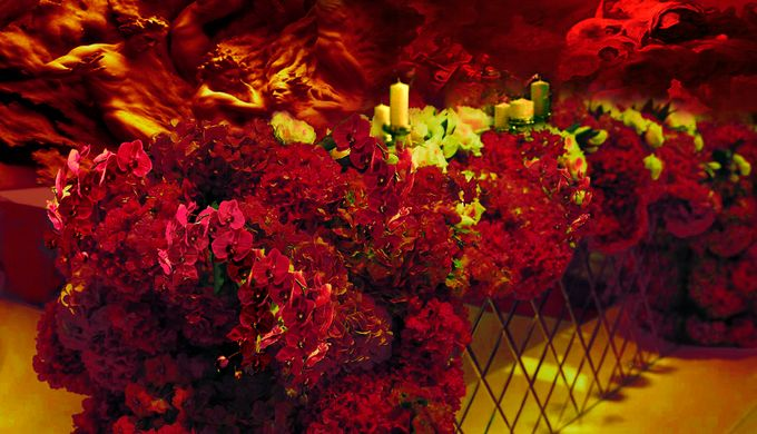 Red Reception with multimedia 3d decorations by 7 Sky Event Agency - 002