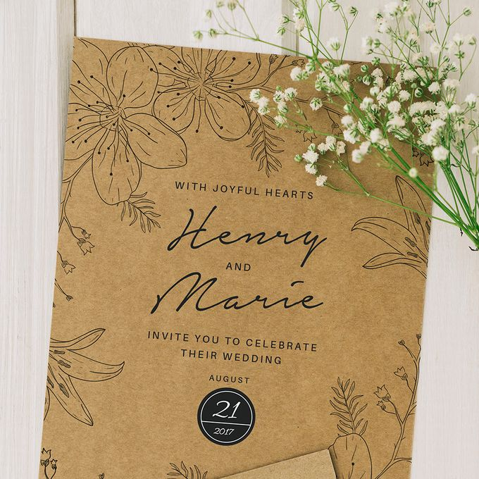 Rustic or Floral Wedding Invitations by Designs by Melissa Tan - 003
