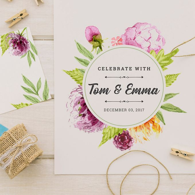 Rustic or Floral Wedding Invitations by Designs by Melissa Tan - 004