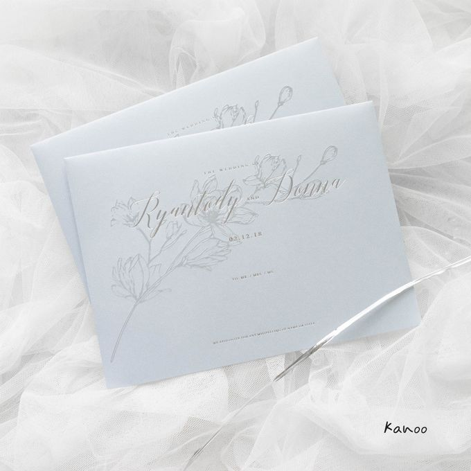 Wedding Invitation - Silvery Dusty Blue by Kanoo Paper & Gift - 001