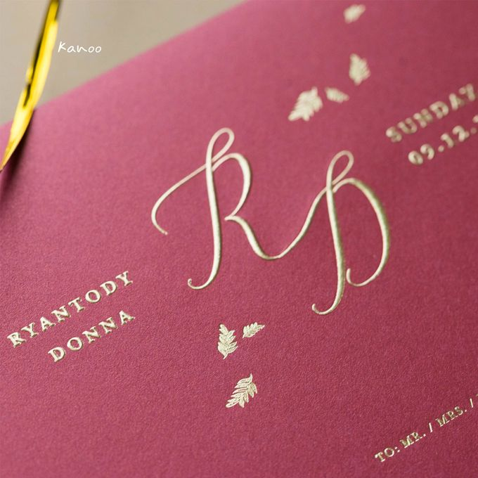 Wedding Invitation - Elegant Marron with Gold by Kanoo Paper & Gift - 001