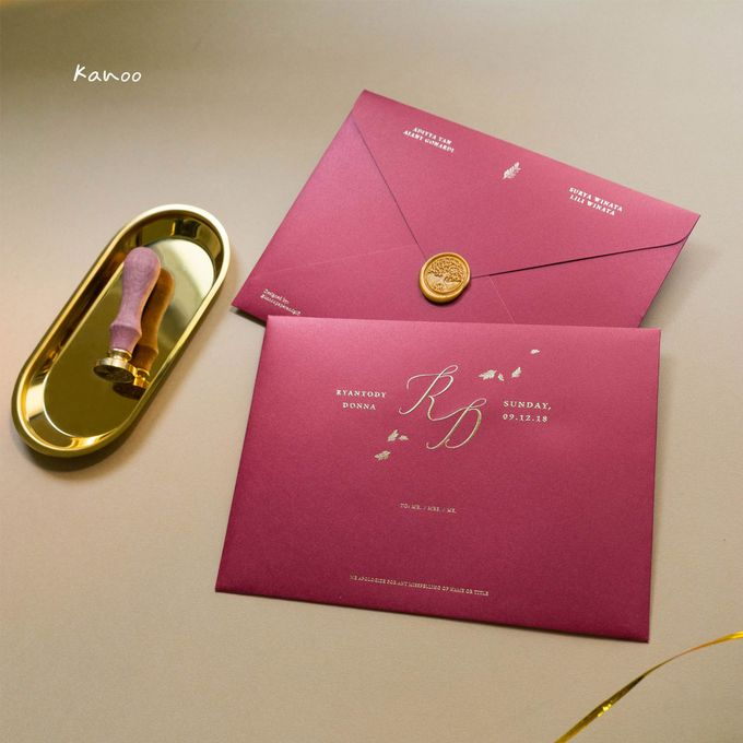 Wedding Invitation - Elegant Marron with Gold by Kanoo Paper & Gift - 002