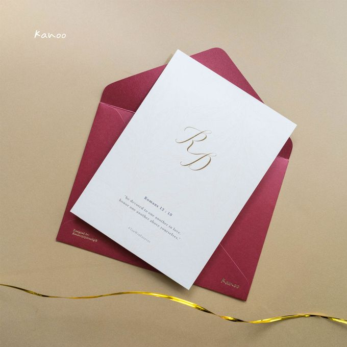 Wedding Invitation - Elegant Marron with Gold by Kanoo Paper & Gift - 004