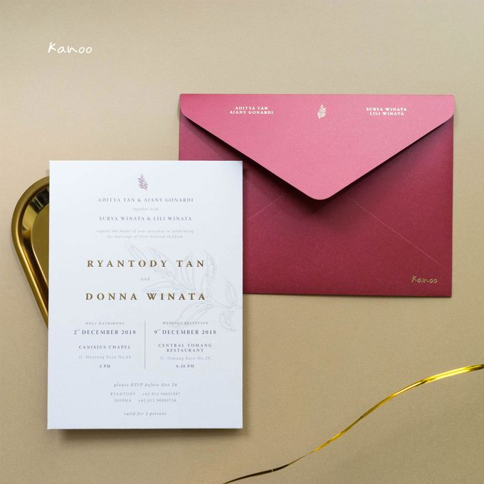 Wedding Invitation - Elegant Marron with Gold by Kanoo Paper & Gift - 005