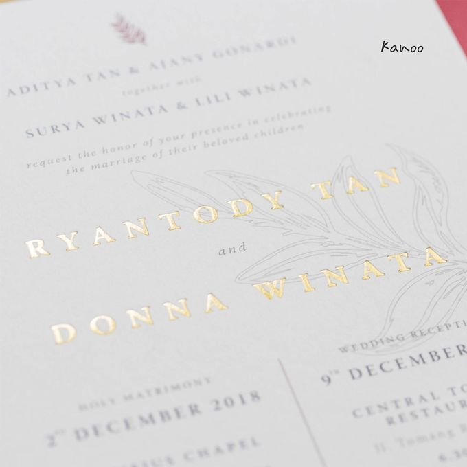 Wedding Invitation - Elegant Marron with Gold by Kanoo Paper & Gift - 006