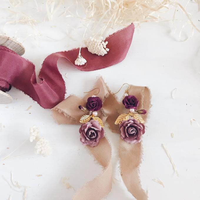 Maroon Burgundy Gold earrings  by Serenity Wedding - 002