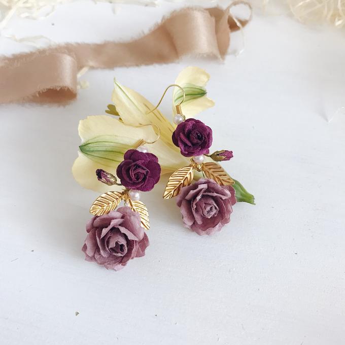 Maroon Burgundy Gold earrings  by Serenity Wedding - 004