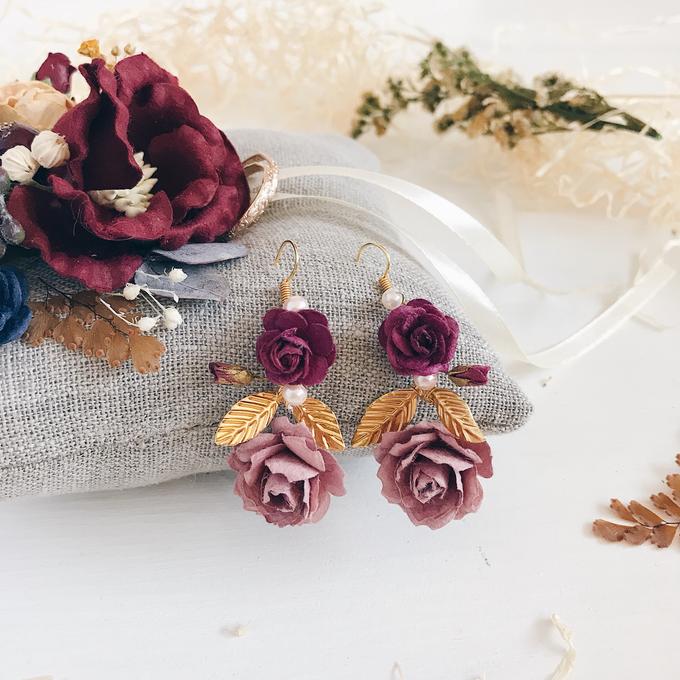 Maroon Burgundy Gold earrings  by Serenity Wedding - 005