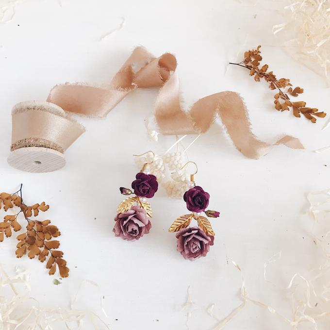 Maroon Burgundy Gold earrings  by Serenity Wedding - 003